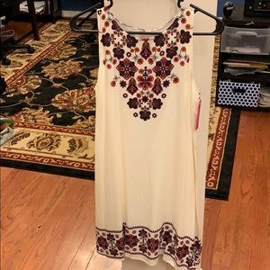 Cream Colored Tunic Dress with Autumn Flowers